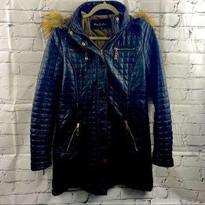 New girl vegan leather winter coat